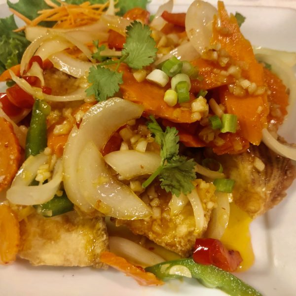 CRISPY FRIED FISH WITH SPICY GARLIC SAUCE