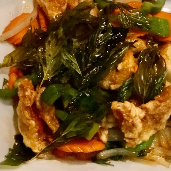 CRISPY CHICKEN WITH CRISPY BASIL LEAVES